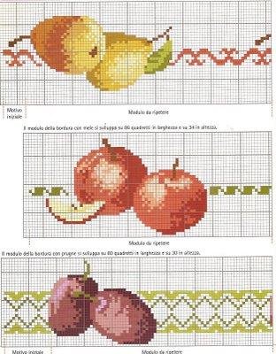Greche mela pera prugna bertafilava - Disegni punto croce per tovaglie da tavola ...