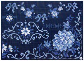 monocolore blu floreale