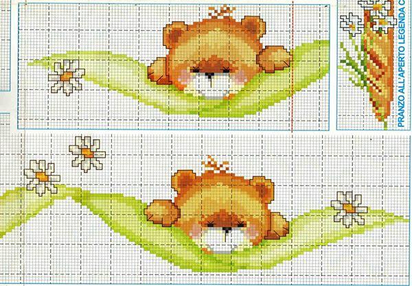Greche orsetti bertafilava for Lenzuolini punto croce schemi