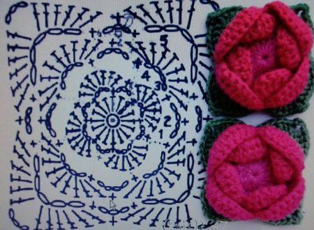 Piastrelle uncinetto con fiore piastrella rotonda con fiore a